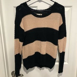 LA Hearts Beige and Black Stripes Sweater